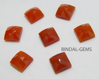 Wholesale Lot 5 Pcs Red Onyx Square Shape Rose Cut Gemstone For Jewelry