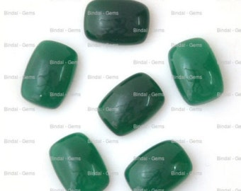 25 Pieces Wholesale Lot Wonderful Green Onyx Octagon Cushion Shape Cabochon Gemstone For Jewelery