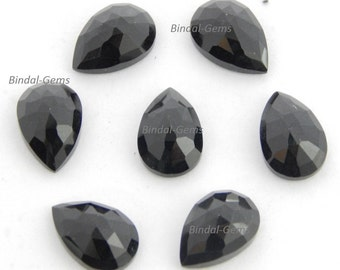 15 Pieces Lovely Wholesale Lot Black Onyx Pear Shape Rose Cut Loose Gemstone For Jewelry