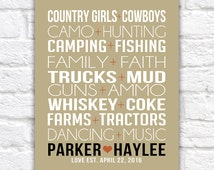 Country Love, Gift for Couple -  Art Print, Custom Pairings, Country Life, Music, Dancing - Faith, Camo, Hunting, Gift for Husband   WF296