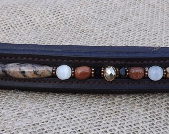BROWN Warmblood Size  Padded Leather Dressage/English Beaded Brow Band Granite/Goldstone/White