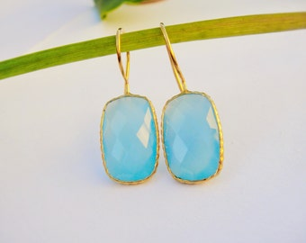 Aqua Blue Chalcedony earrings, 18k gold bezeled blue chalcedony earrings