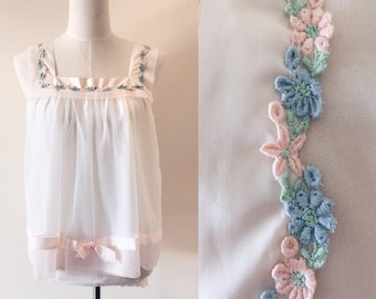 vintage baby doll top // 60s blouse // vintage pastel top // vintage floral embroidered top //