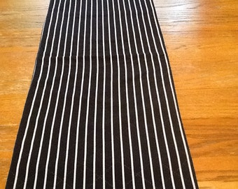 Navy striped quilted table runner