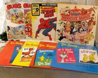 Vintage 60s Dr Seuss LP Collection of 8 Plus Spiderman Bugs Bunny