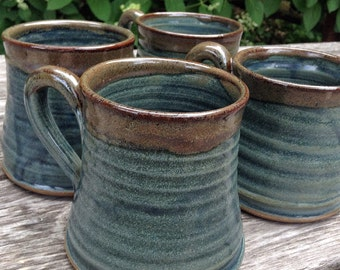 Set of rustic pottery mugs, handmade blue coffee cups