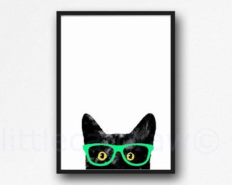 Peeking Black Cat with Golden Eyes Mint Glasses Edition Geek Cat with Glasses Watercolor Painting Cat Art Print Watercolor