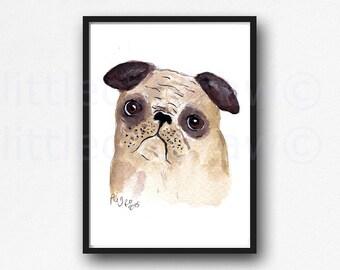 Grumpy Pug Print Adorable Pug Watercolor Painting Art Print Cute Pug Watercolour Wall Art Puggle Dog Watercolor