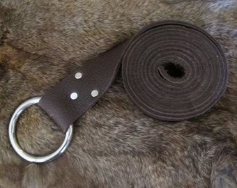 Chocolate brown bull hide leather ring belt for medieval garb #1154 series A-G