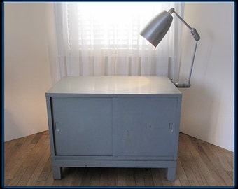50s Mid Century Industrial Metal Cabinet TV, Record, Entertainment Light Lighted