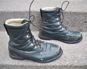 Vintage Cabela's Men's Work Hunting Work Motorcycle Green Leather Soft Toe Boots Size 12