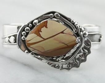 Fine Landscape Jasper, Gemstone Cuff Bracelet in Sterling Silver  PMJLMH-P