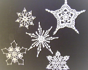 Hand Crocheted White Snowflakes Set of 5