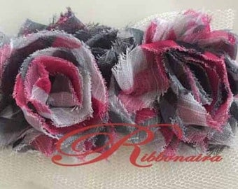 "1.5 "" Camo  pink  trim shabby chiffon flower  Petite Shabby trim animal print, headband, hair accessories, decoration , fabric"