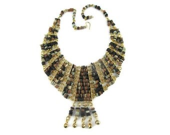 Vintage Egyptian Revival Collar Bib Gold Tone necklace in Earth Tones