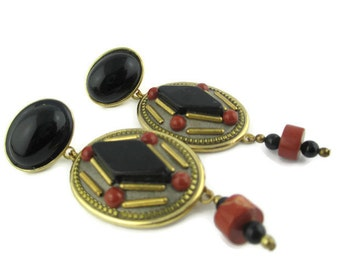 Vintage Earth Tones Brown Glass Cabochon Geometric  Gold Tone Earrings