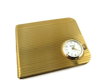 Vintage Gold Plated Bill Fold Wallet with Webster Antimagnetic Bernard schaffel One 1 Jewel Unadjusted Swiss Movement Watch