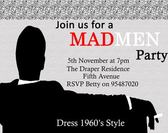 Mad Men Inspired Birthday Invitation Personalized