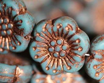 Czech Pressed Glass Flower Beads Blue Matte with Bronze Inlay, side drilled 18mm: 4pc 2329