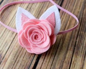 Easter headband - Bunny ears headband - felt flower headband - newborn through adult