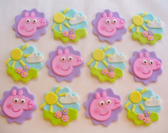 12 PEPPA PIG Edible Fondant Cupcake Toppers