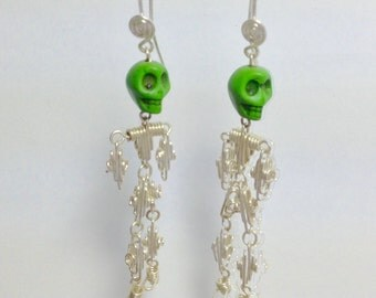 Creepy skeleton earrings 'dancing '
