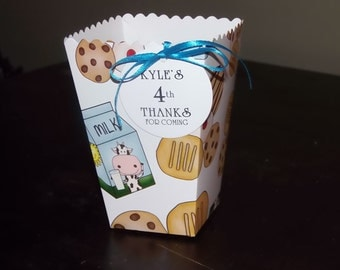 Cookies and Milk Favor Boxes, Personalized Candy Buffet Box, Birthday Party