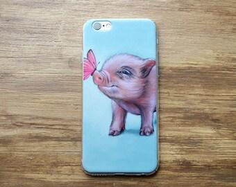 Pig phone case, iPhone 5/5S/SE, iPhone6/ 6S, iPhone6 / 6S Plus, iPhone 7 / 7 Plus, transparent case, micro pig phone case,  mini pig case