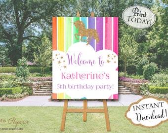INSTANTDOWNLOAD - Rainbow Unicorn Birthday Poster - Unicorn Welcome Poster - Unicorn Birthday Party - Unicorn Party - Rainbow Birthday 0220