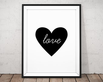 Love Printable, Typography Love Art, Black and White Print, Black Heart Print, Love Digital Poster, Printable Heart, Wedding Printable Art