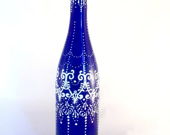 Hand Painted Wine Bottle Tiki Torch