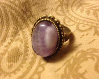 Brass Dreams Cabochon Ring: Amethyst