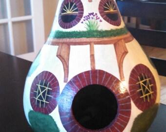 Hobbit/Fairy Painted Gourd Birdhouse