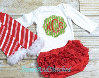 Personalized Baby girl Christmas outfit - baby first christmas outfit - christmas leg warmers and christmas hat with name!