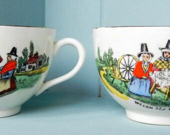 Two vintage Welsh Tea Party  teacups