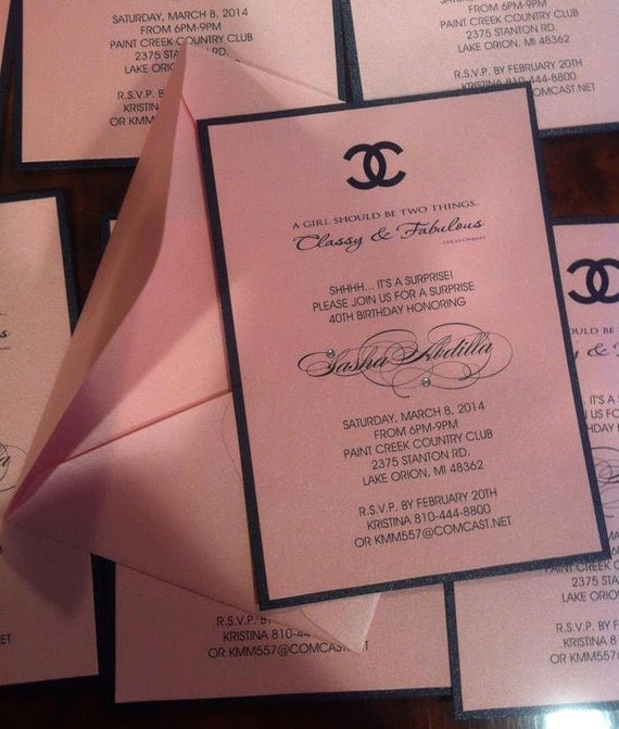 Coco Chanel Themed Party Invitations as Luxury Ideas To Create Inspirational Invitations Layout