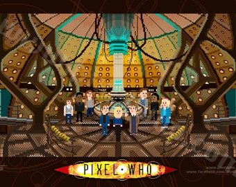 Pixel (8 bit) 10th Doctor Console Room Print