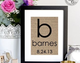 Personalized Wedding Gift / Unique Wedding Gift for Couple / Burlap Monogram / Monogrammed Gifts / Personalized Wedding Gift
