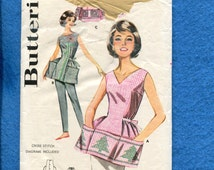 1960's Butterick 9982 Cobbler Apron Mid Century Hostess Chic Size LARGE 18/20