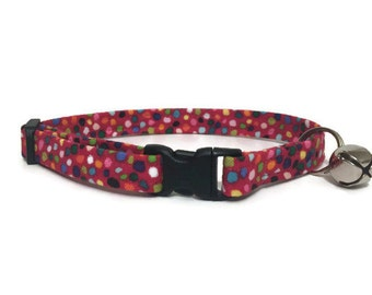 Cat Collar, Pink with Multi Color Spots