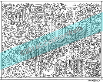 Adult Coloring Book Page Total Nonsense Cafe Caliente Con Tortuga Hot Coffee Turtle Cashion Relaxation Sheet