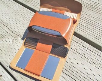 Small Travel Kit,Men's Grooming Kit,Vinyl Grooming Case,Vintage Men's Travel Case,Vintage Travel Kit,Gentleman's Mini Grooming Kit,Preppy