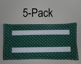 5 Washable & Reusable pads for Swiffer-type Wet Jet mops - GREEN WHITE HEARTS
