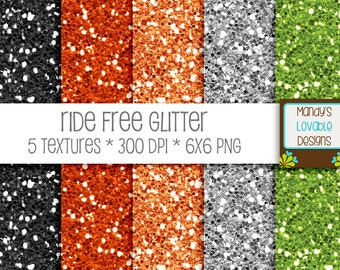 SALE - Ride Free Digital Glitter Texture - Black Silver Orange Green - Scrapbooking, Photography, Blog Design, Invitations - High Resolution