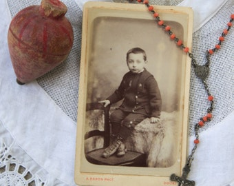 French antique sepia photograph of a young boy