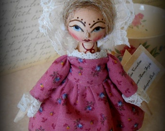 Queen Anne Clothespin Doll, Wood Doll Ornament, Peg Doll, Colonial Style Wooden Toy Doll, Antique Style Wooden Doll