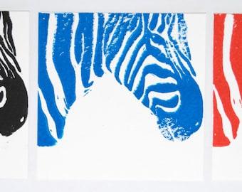 Set of 4 Blank Cards, Printed Cards, Zebra Cards, Zebra
