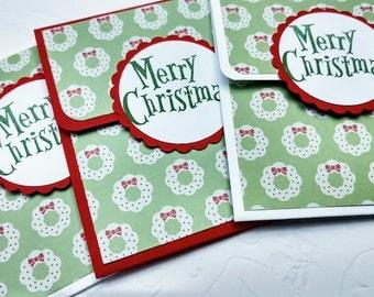 Wreath Gift Card Holders,Set of 3 Christmas Gift Card Holders, Red Green Money Holder, Paper Christmas Card Holder, Optional Envelope
