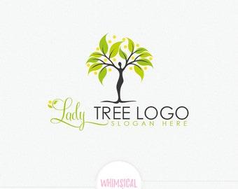 Woman tree Logo - Feminine health Logo - peace and health lifestyle