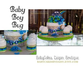 It's a Boy Diaper Cake, Centerpiece for a Baby Boy, Baby Shower Decoration
